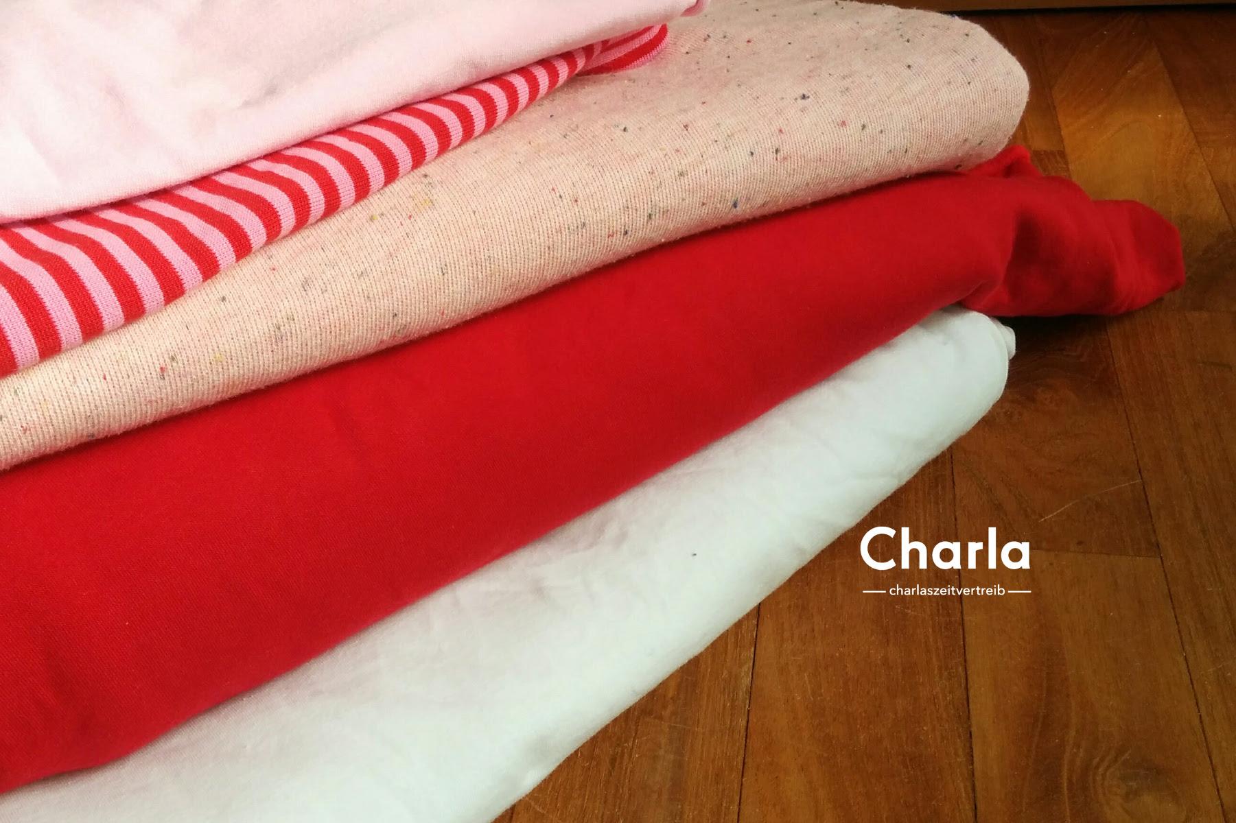 639b9ee838 Dazu rosa und weißer Jersey, Bündchen in rosa-rot. Ich könnte auch Bündchen  in rot-weiß kaufen. Ich bin mir nicht mehr so ...